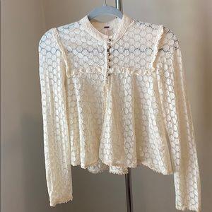 Vintage cream eyelet blouse